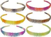 72 Units of Assorted multicolor acrylic headband with rainbow pattern