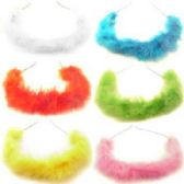 72 Units of Assorted colored feather covered wire headband