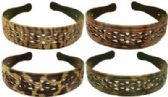 72 Units of Assorted shades of brown animal patterned acrylic headbands