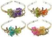 24 Units of Goldtone headband with assorted colored flowers - Headbands