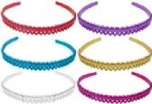 72 Units of Assorted colored Acrylic headbands with a metallic look