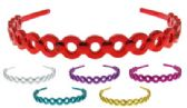 72 Units of Assorted colored acrylic headband with a metallic finish