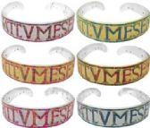 72 Units of Goldtone or Silvertone Acrylic headband with letters