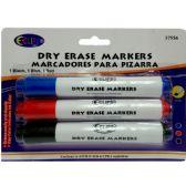 24 Units of White Board Markers Black/Blue/Red - 3 Pack - MARKERS/HIGHLIGHTERS