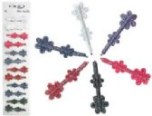 72 Units of Silver bobby pins with assorted color cloth glitter flowers - Boby Pins