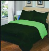 3 Units of Luxury Reversible Comforter Blanket King Size 101 x 86 Hunter Green / Sage