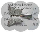 120 Units of silver-tone alligator clip with silver-tone butterfly