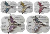 120 Units of Silver-tone alligator clip with assorted color glitter