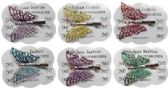 120 Units of Silver-tone alligator clip with butterflies