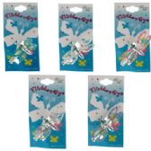 120 Units of Silver-tone alligator clip with assorted color glittered enamel tie-dye look