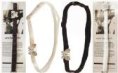 72 Units of Assorted black and white bra strap headband with silver-tone butterfly