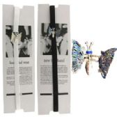 72 Units of Assorted black and white bra strap headband with silver-tone butterflies
