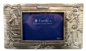 "10 Units of Pewter picture frame with images of people bowling and the words ""strike"" and ""spare"" engraved around picture slot"