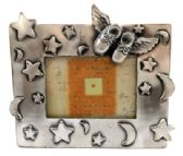 10 Units of Pewter picture frame with moons and stars and a pair of baby shoes with wings in the top right corner