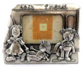 "10 Units of Heavy pewter picture frame with three children in front of a school bus and the words ""best friends"" across the top of the frame"