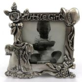 "10 Units of Pewter picture frame with the words ""little girl"" written across the top of the frame and little girl accessories around the frame"