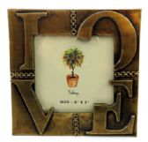 "10 Units of Gold tone pewter picture frame with the word ""LOVE"""