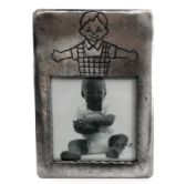 10 Units of Pewter picture frame with little girl cartoon engraved above picture slot