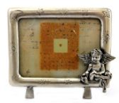 10 Units of Pewter picture frame with a moon and stars engraved around the frame and an angel sitting on the bottom right corner