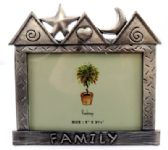 "10 Units of Pewter picture frame shaped as a house with the word ""family"" written across the bottom"