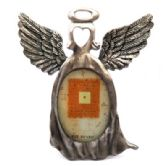 6 Units of Pewter picture frame shaped as an angel with a heart in place of the face