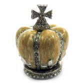 10 Units of Silver tone and tan enamel crown shaped jewelry holder - Gifts Items
