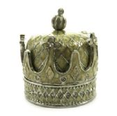 10 Units of Silver tone and tan enamel crown shaped jewelry holder with diamond like rhinestone accents - Gifts Items