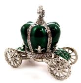 10 Units of Silver tone and green enamel crown attached to a coach shaped base - Gifts Items