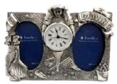 10 Units of Dual picture frame made of pewter with assorted golf designs and a clock in the center - Clocks & Timers