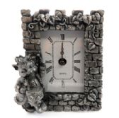 10 Units of Pewter framed clock with a cat as a drummer - Clocks & Timers