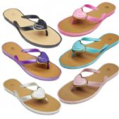96 Units of Women's Fashion PVC Flip Flop With Heart Embellishment - Women's Flip Flops