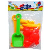 """36 Units of 5""""-8"""" 4PC BEACH TOYS SET IN POLY BAG WITH HEADER"""