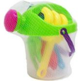 "12 Units of 8.5"" BEACH TOY BUCKET W/ACSS IN PEGABLE NET BAG, 3 ASSRT - Beach Toys"