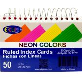 48 Units of Spiral index cards, 3x5, 50 ct. neon colors, ruled - Labels ,Cards and Index Cards