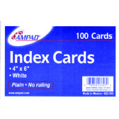 40 Units of AMPAD Index cards 4x6, 100 pk, white, unruled - Labels ,Cards and Index Cards