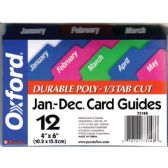 "24 Units of OXFORD Jan-Dec Poly Card Guides 1/3 Tab Cut 4""x6"" - Labels ,Cards and Index Cards"