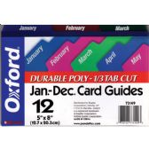 "24 Units of OXFORD Jan-Dec Poly Card Guides 1/3 Tab Cut 5""x8"" - Labels ,Cards and Index Cards"