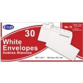 24 Units of Self Stick White Envelopes, #10, 30 Ct. - Envelopes