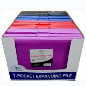 16 Units of Expanding File, Letter Size, 7 Pockets, Blue, Red, Purple, Black - Folders and Report Covers