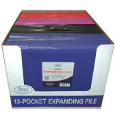 16 Units of Expanding File, Letter Size, Clearline, 13 Pockets, Blue, Red, Purple, Black