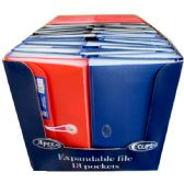 48 Units of Expanding file, check size, 13 pockets, assorted colors