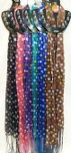 48 Units of Light Weight Scarves Solid Color with Polka Dots Fringe