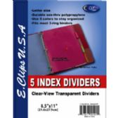 72 Units of Poly Index tab dividers, 5 pk., asst. color tabs