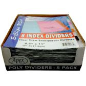 48 Units of Poly Index tab dividers, 8 Pk., asst. color tabs