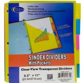 48 Units of Poly tab dividers with pocket, 5pk, in display - Tab Dividers