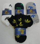 48 Units of Womens Anklets Socks 9-11 [Marijuana] BLK/GRY/WHITE - Mens Ankle Sock