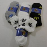 24 Units of Men's Ankle Socks Size 10-13 Marijuana Print - Mens Ankle Sock