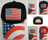36 Units of Americana Ball Cap Embroidered Flag with Screen Print Bill - Baseball Caps/Snap Backs