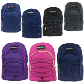 "24 Units of 19"" Bungee Design Backpack In 7 Assorted Colors - Case of 24"