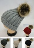 24 Units of Womens Cable Knit Warm Winter Hat With Pom Pom - Fashion Winter Hats